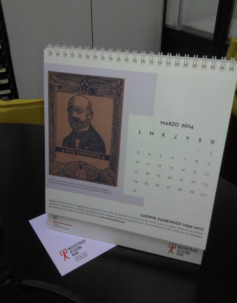Bildo de Zamenhof en kalendaro de Pola Instituto de Madrido