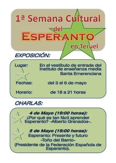 Cartel de la semana del esperanto en Teruel