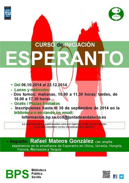 Cartel curso esperanto en Sevilla